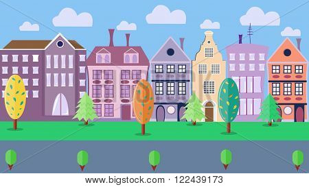 City street with colorful houses.Trees and shrubs. Road, sky and clouds. European style. Vector illustration. Flat style