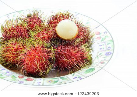 Closed up colorful Rambutan Isolated on White Background.