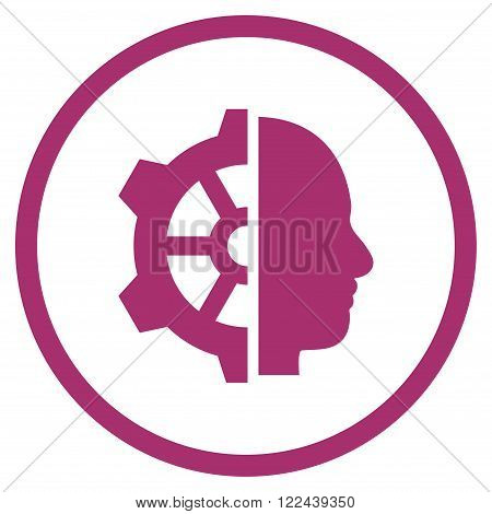 Cyborg Gear vector icon. Picture style is flat cyborg gear rounded icon drawn with purple color on a white background.