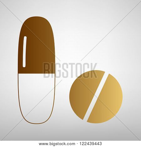 Medical pills sign. Flat style icon with golden gradient