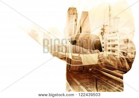 Double Exposure Of Business Man Use Tablet And Skytrain Or Subway