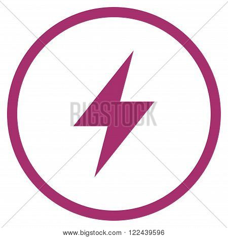 Electrical Strike vector icon. Picture style is flat electric strike rounded icon drawn with purple color on a white background.