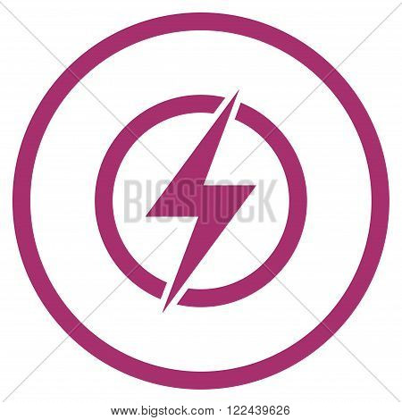 Electricity vector icon. Picture style is flat electricity rounded icon drawn with purple color on a white background.