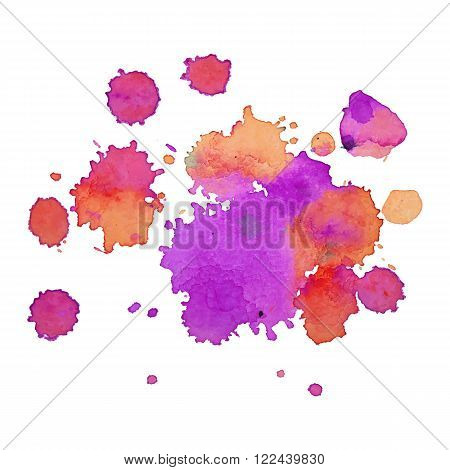 expressive watercolor spot blotch with splashes mix color. Banner for text, grunge element for decoration