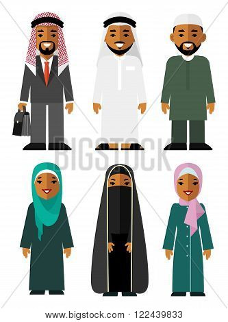 Different arabic ethnic man and woman smiling characters in traditional clothing