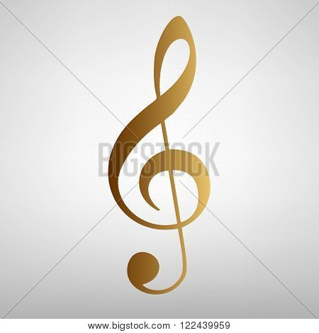 Music violine clef sign. Flat style icon with golden gradient