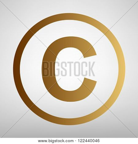 Copyright sign. Flat style icon with golden gradient
