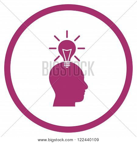 Genius Bulb vector icon. Picture style is flat genius bulb rounded icon drawn with purple color on a white background.