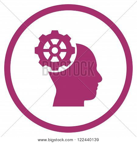 Head Gear vector icon. Picture style is flat head gear rounded icon drawn with purple color on a white background.