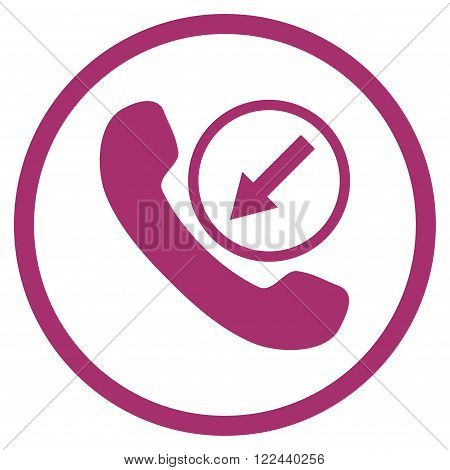 Incoming Call vector icon. Picture style is flat incoming call rounded icon drawn with purple color on a white background.