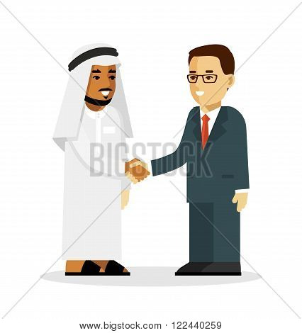 Arabic and european ethnic man characters smiling and shake hands