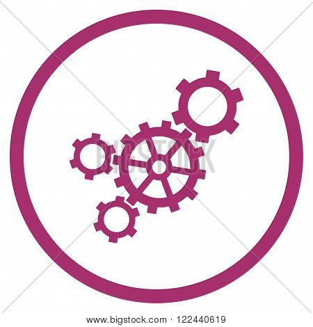 Mechanism vector icon. Picture style is flat mechanism rounded icon drawn with purple color on a white background.