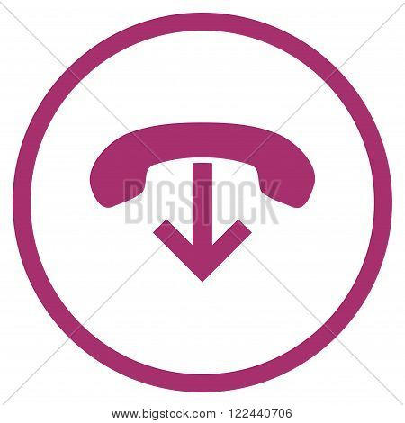 Phone Hang Up vector icon. Picture style is flat phone hang up rounded icon drawn with purple color on a white background.
