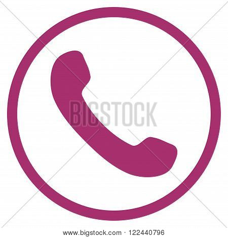 Phone Receiver vector icon. Picture style is flat phone receiver rounded icon drawn with purple color on a white background.