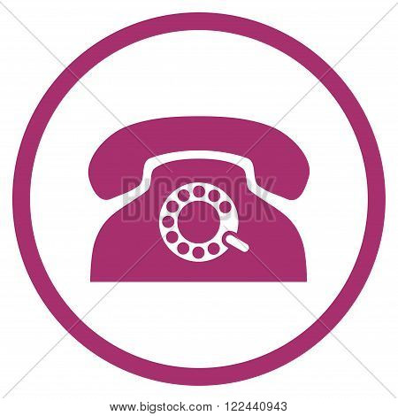 Pulse Telephone vector icon. Picture style is flat pulse phone rounded icon drawn with purple color on a white background.