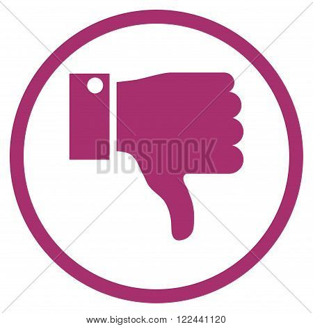 Thumb Down vector icon. Picture style is flat thumb down rounded icon drawn with purple color on a white background.