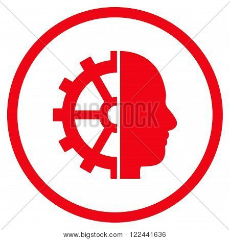 Cyborg Gear vector icon. Picture style is flat cyborg gear rounded icon drawn with red color on a white background.
