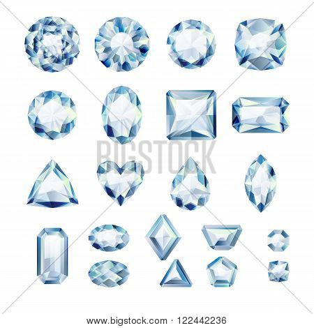 Set of realistic white jewels. Colorful gemstones. Diamonds isolated on white background.