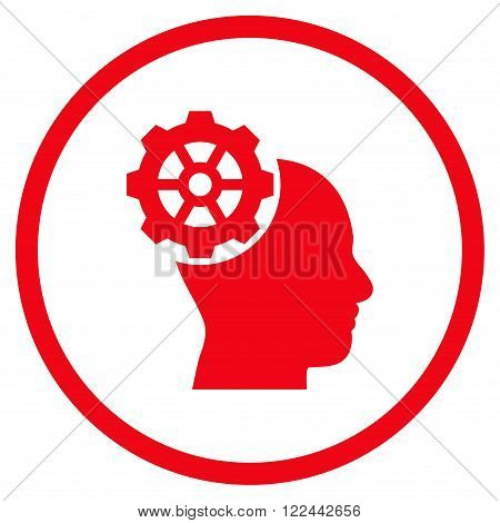 Head Gear vector icon. Picture style is flat head gear rounded icon drawn with red color on a white background.