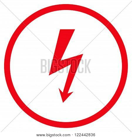 High Voltage vector icon. Picture style is flat high voltage rounded icon drawn with red color on a white background.