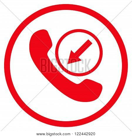 Incoming Call vector icon. Picture style is flat incoming call rounded icon drawn with red color on a white background.