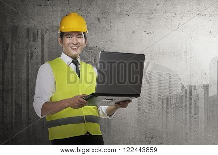 Asian Engineer Wearing Safety Vest