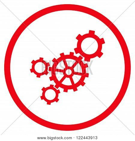 Mechanism vector icon. Picture style is flat mechanism rounded icon drawn with red color on a white background.