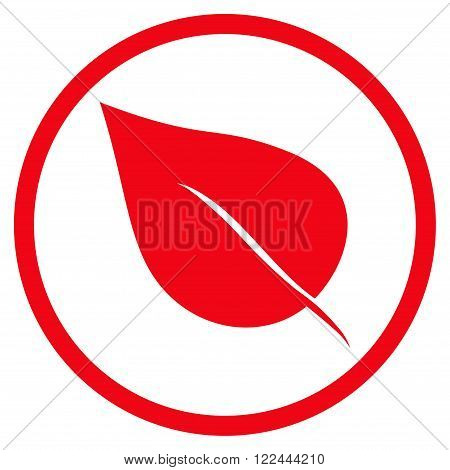 Plant Leaf vector icon. Picture style is flat plant leaf rounded icon drawn with red color on a white background.