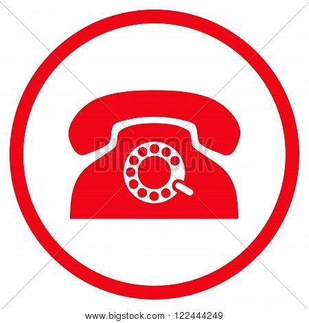 Pulse Telephone vector icon. Picture style is flat pulse phone rounded icon drawn with red color on a white background.