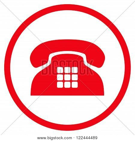 Tone Telephone vector icon. Picture style is flat tone phone rounded icon drawn with red color on a white background.