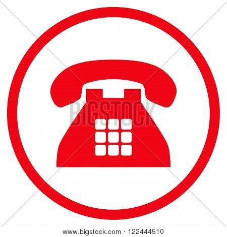 Tone Phone vector icon. Picture style is flat tone phone rounded icon drawn with red color on a white background.