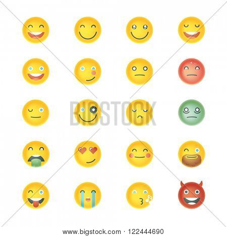 Emoticons Collection. Set of Emoji. Different Emoticons. Vector smile face icons.
