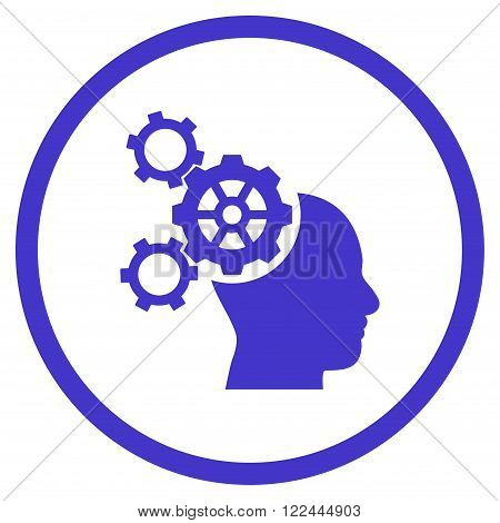 Brain Mechanics vector icon. Picture style is flat brain mechanics rounded icon drawn with violet color on a white background.