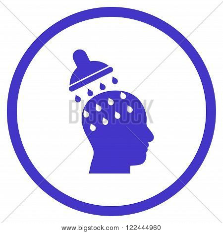 Brain Washing vector icon. Picture style is flat brain washing rounded icon drawn with violet color on a white background.