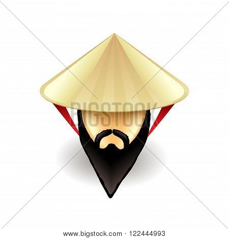 Man in chinese conical hat isolated on white vector illustration