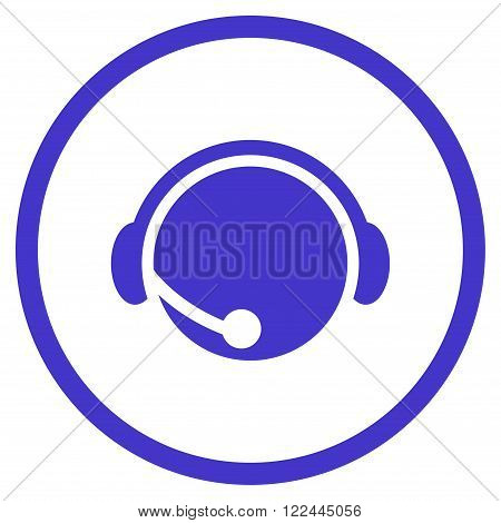 Call Center Operator vector icon. Picture style is flat call center operator rounded icon drawn with violet color on a white background.