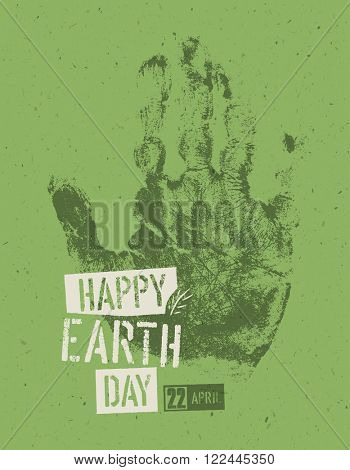 Happy Earth Day Poster. Symbolic hand-print on the recycled paper texture. 22 April