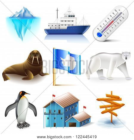 Antarctica icons detailed photo realistic vector set