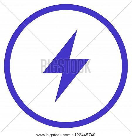 Electrical Strike vector icon. Picture style is flat electric strike rounded icon drawn with violet color on a white background.