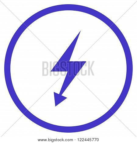 Electric Strike vector icon. Picture style is flat electric strike rounded icon drawn with violet color on a white background.
