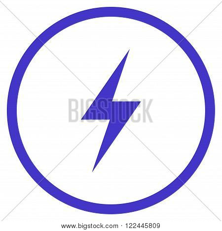 Electricity vector icon. Picture style is flat electricity rounded icon drawn with violet color on a white background.