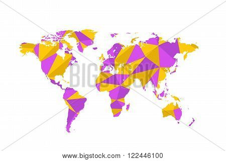 Violet and yellow triangulated world map isolated on white