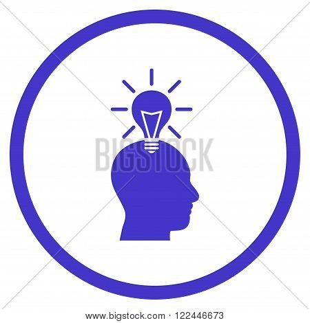 Genius Bulb vector icon. Picture style is flat genius bulb rounded icon drawn with violet color on a white background.