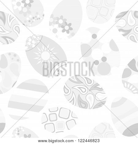 Seamless Gray Pattern Of Easter Eggs