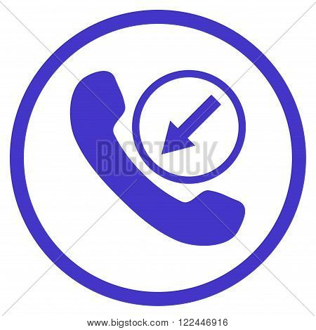 Incoming Call vector icon. Picture style is flat incoming call rounded icon drawn with violet color on a white background.