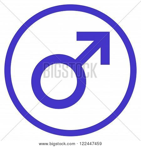 Male Symbol vector icon. Picture style is flat male symbol rounded icon drawn with violet color on a white background.