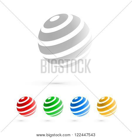 Set of globe sphere or circle logo business icon elements.  Abstract globe icons.