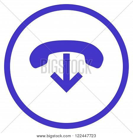 Phone Hang Up vector icon. Picture style is flat phone hang up rounded icon drawn with violet color on a white background.
