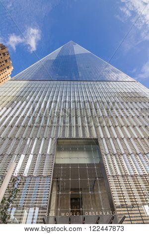 NEW YORK CITY, USA - SEPTEMBER 28, 2015: One World Observatory of New York City World Trade Center