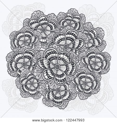 Zen-doodle or Zen-tangle flowers pattern gathered in circle  black on white for coloring page or relax coloring book or wallpaper or for decorate package clothes  or different things